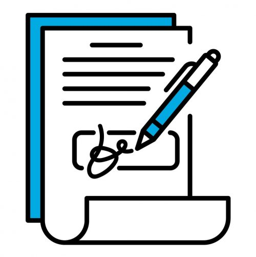 Document signature icon, outline style